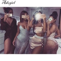 Women S V Neck Night Club Dress Suspender Backless Party Sexy Halter Neck Nightclub Shiny Sequins