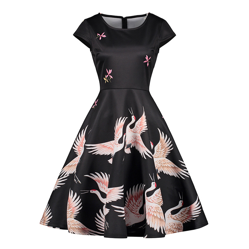 1950s Vintage Dresses 50s 60s Women Retro Summer Knee Length Working Dress Elegant Noble Fly Crane Print Party Black Clothes
