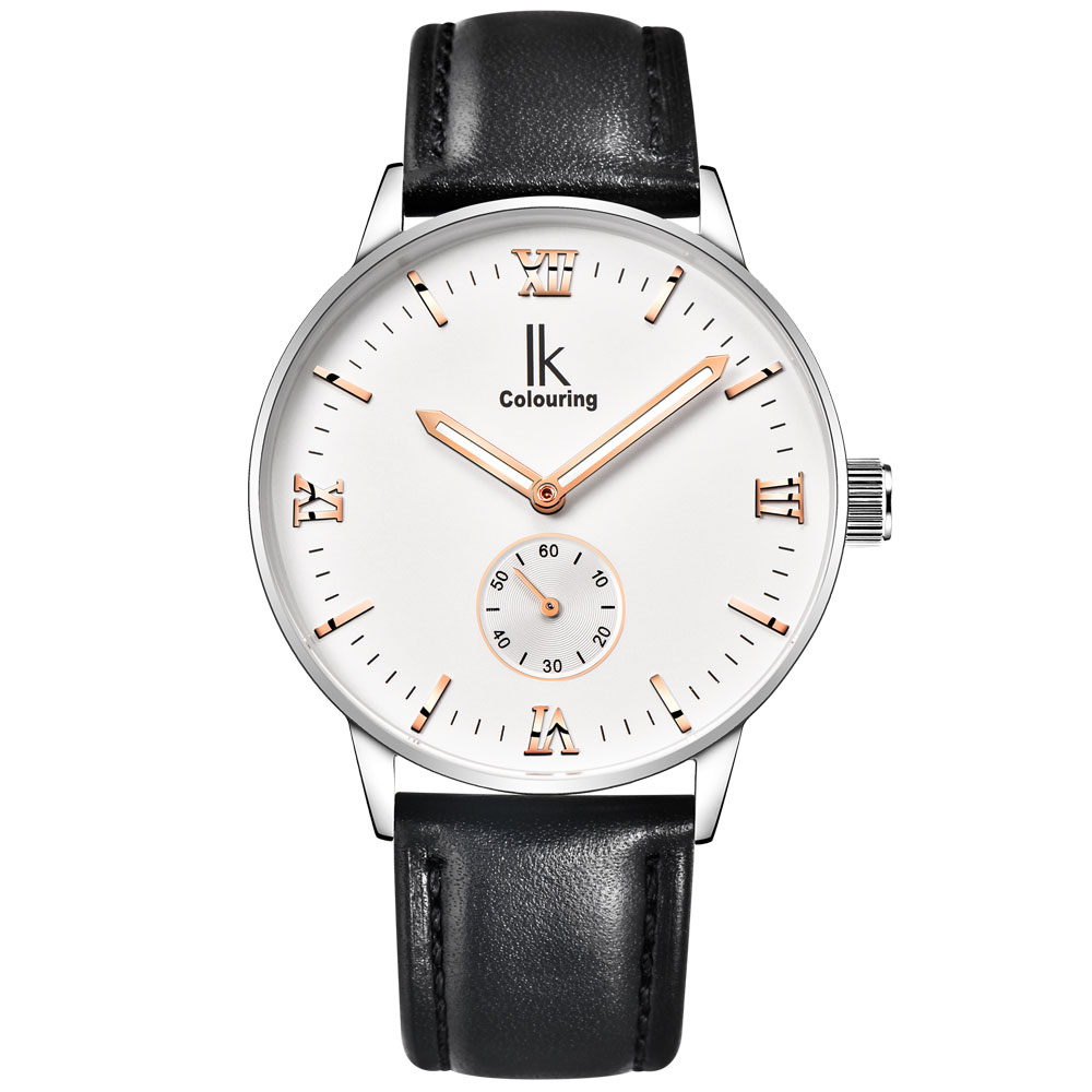 ФОТО IK Colouring mens automatic mechanical watch leather strap 30 meters waterproof 2017 New Style mens watches top brand luxury