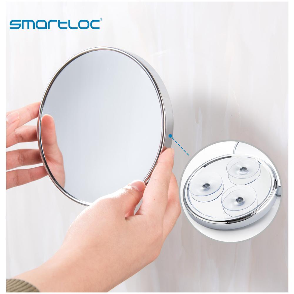 Smartloc miroir rond mural de salle de bain, loupe 20cm 5X à ventouse montage mural miroir de salle de bains maquillage cosmétique accessoires