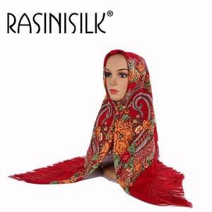 Image 4 - Russian Fringed  Big Square Scarf Shawl National Muslim Hijabs Headscarf Dual use Autumn Winter Ladies Print Warm Headband Women