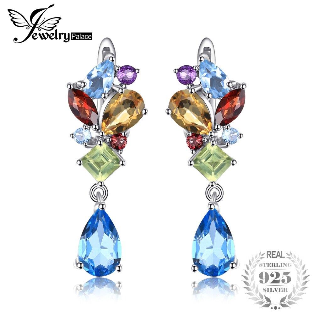 JewelryPalace Mode 4ct Multicolore Naturel Bleu de Topazs Citrines Améthystes Grenats Péridots Boucles D'oreilles Clip En Argent 925