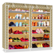 Double Rows Multi-layers Oxford Cloth Shoes Cabinet Dust-pro