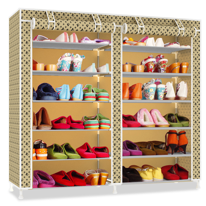 Double Rows Multi-layers Oxford Cloth Shoes Cabinet Dust-proof Moisture-proof Waterproof Shoes Organizer Shelf Shoes Furniture