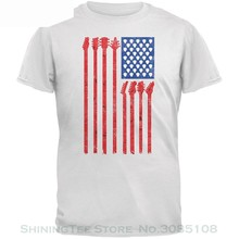 Tee Shirt Casual Short Sleeve 4th Of July Stars And Strings Guitar American Flag White Adult T-shirt