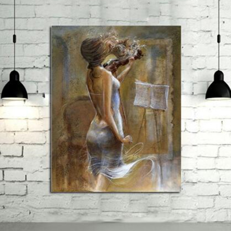 Hand Painted Abstract Figure Oil Paintings Modern Wall Art Home Decor Handmade Sexy Violin Woman Pictures