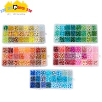 720pcs Gradient Assorted Color Bead with Hole DIY Jewelry Decor Resin Jewelry Making Round Glass Beads Craft Accessories