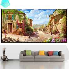 PSHINY DIY Diamond embroidery European Street Landscape picture Full Square rhinestone display Painting cross stitch