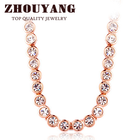 ZHOUYANG Top Quality Round Clear Crystal Necklace Rose Gold s