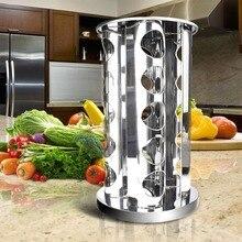 20 Jar Специи Вращающихся Нержавеющей Стали Стенд Держатель Столешница Кухни  Инструмент