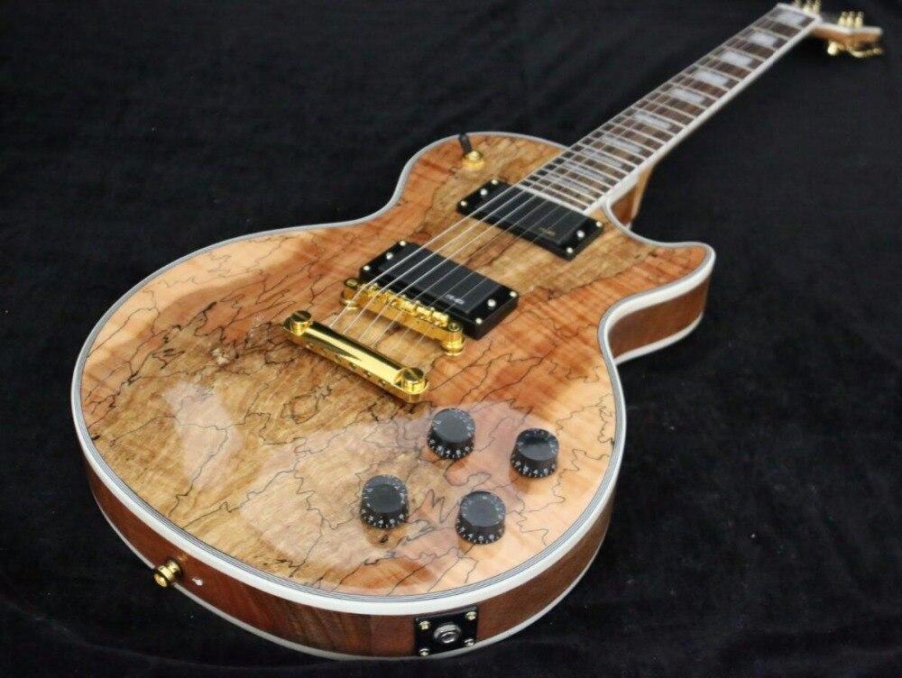 Высокое качество золотистой фурнитурой AAAAA Spalted Клен Пользовательские LP Electric Гитары Бесплатная доставка