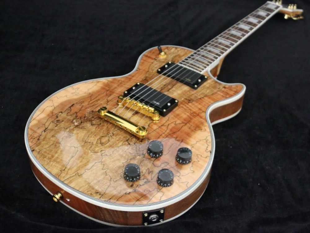 High Quality Gold hardware AAAAA Spalted Maple top Custom Electric guitar guitrra Free shipping pearl white block inlay