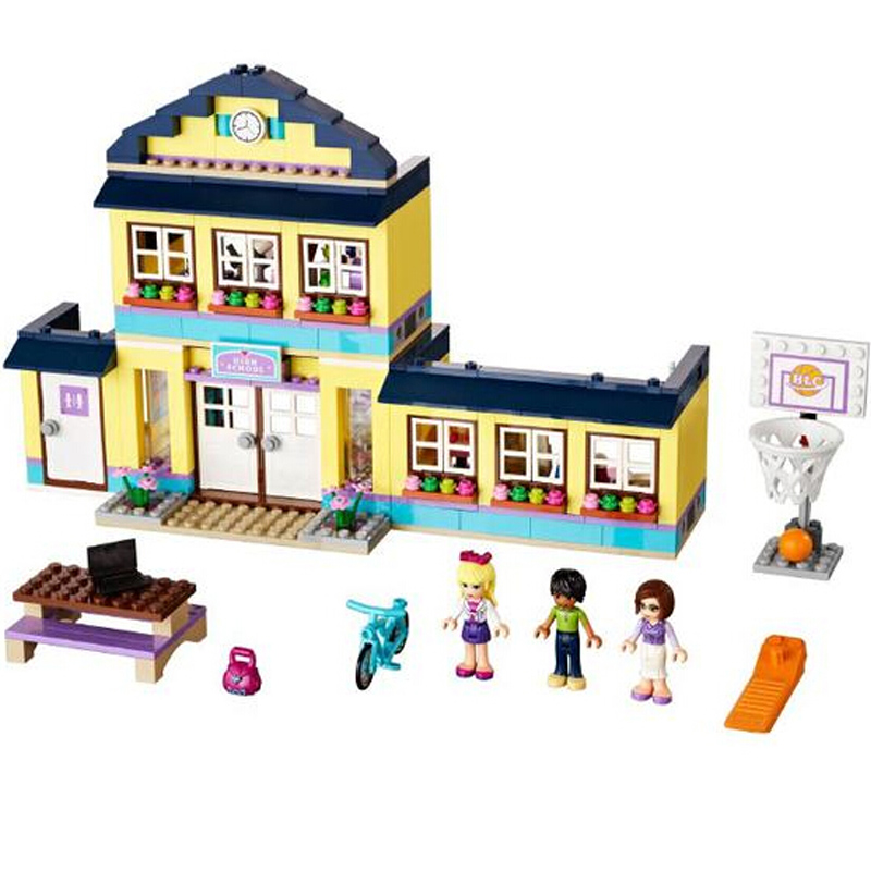 489pcs Heartlake City High School BELA Building Blocks Toy Set Girl Educational Toys Compatible with Lepine Friends 41005 10494 city supermarket building bricks blocks set girl toy compatible lepine friends 41118