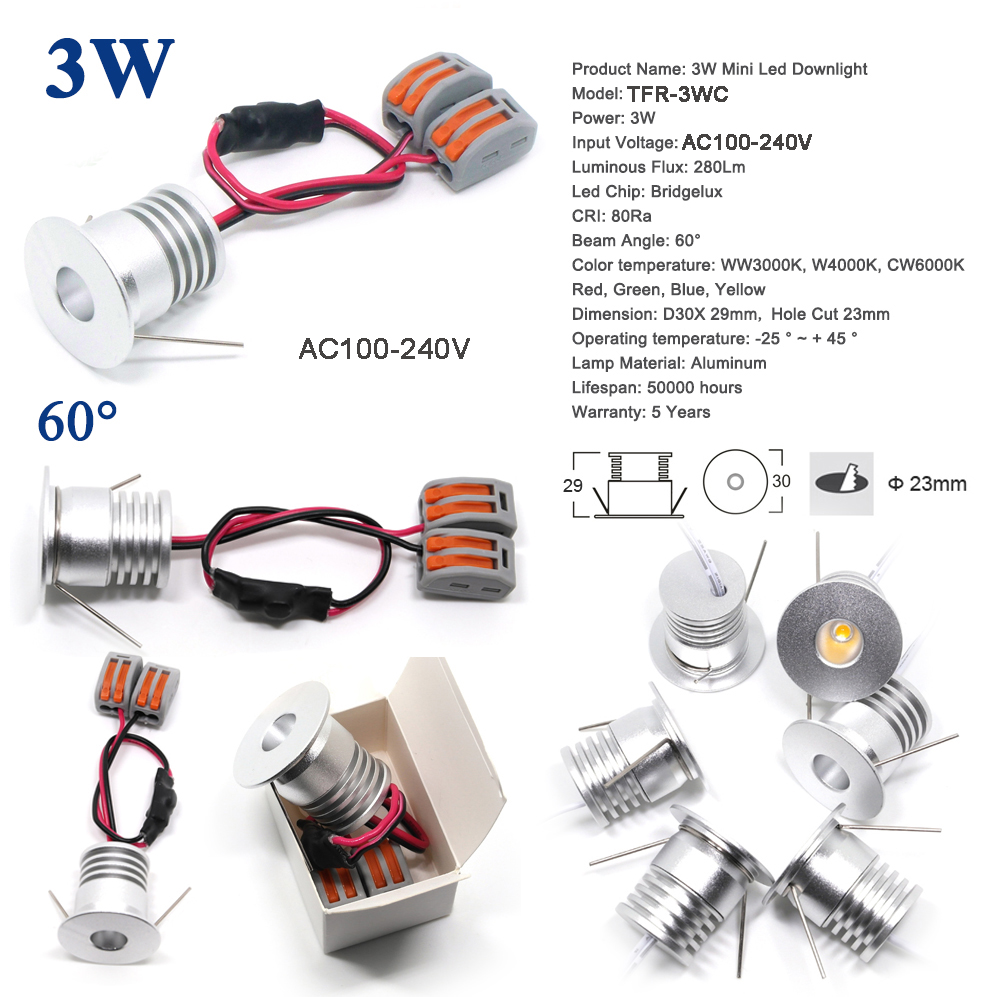 Lampe à ampoule, 1W 2W 3W 4W AC 110V 120V 220V