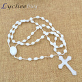 Handmade Glow In the Dark Cross Pendant Prayer Beads Rosary Crucifix Necklace
