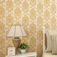 beibehang Fine 3d 3d non woven wallpaper carved European style Damascus wallpaper bedroom living room AB version with
