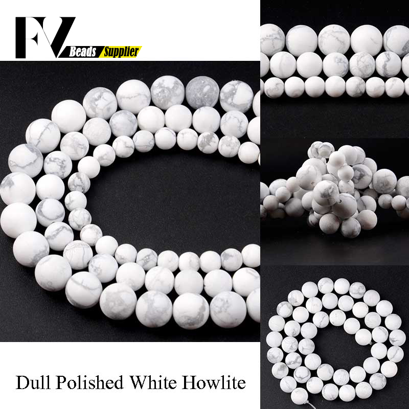 Natural Marble Stone Beads 6 8 10mm Dull Polished Howlite White Turquoises Round Beads for Jewelry Making Needlework Accessories in Beads from Jewelry Accessories
