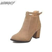 Mode femmes hiver Europe et amérique bouche peu profonde chelsea bottes confortable pointe chaude après fermeture éclair daim bottes à talons hauts