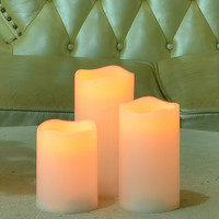 Set of 3 Long Lasting Indoor and Outdoor LED Flameless Candles for Christmas Thanksgiving Holiday Holiday