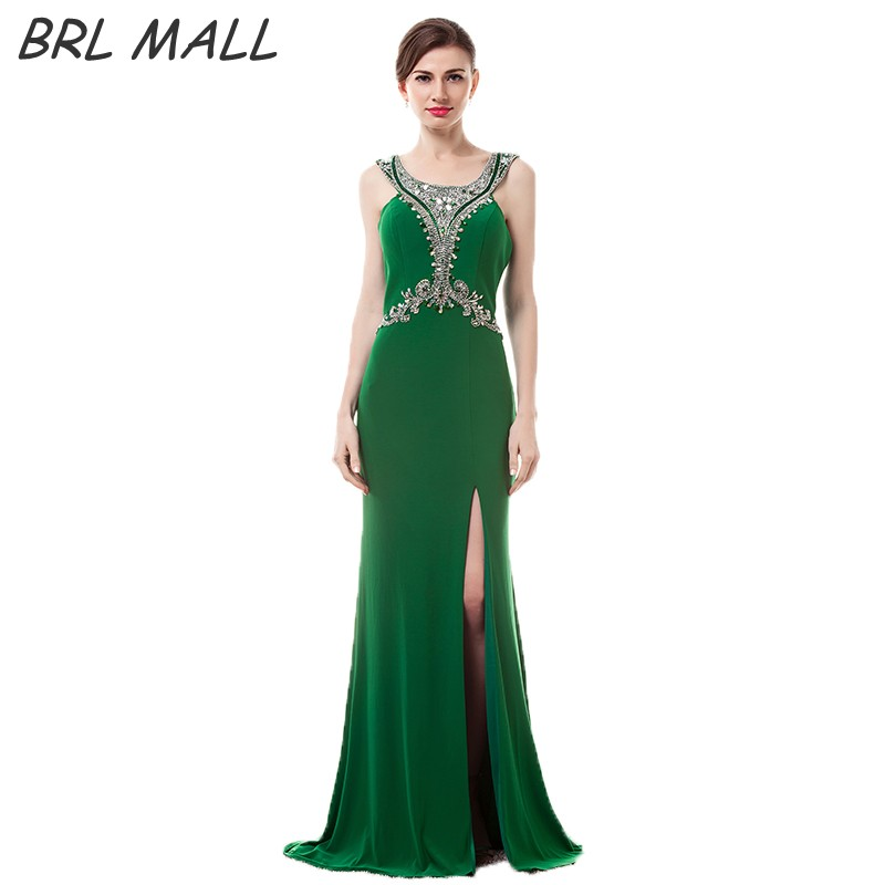 BRLMALL High Quality Green Prom Dress robe de soiree 2017 Beaded Shiny Crystal Backless Mermaid Evening Dress Vestido De Festa