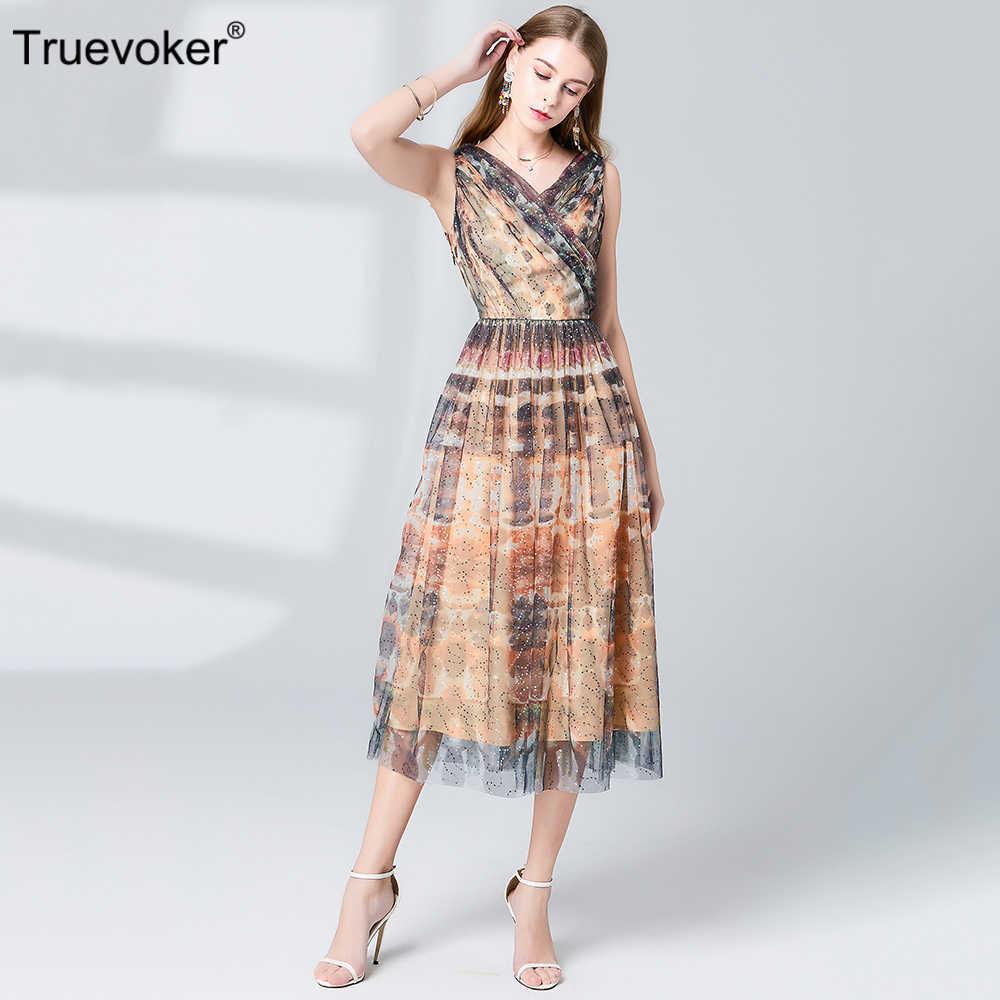 Truevoker летние дизайнерские платья женские высокого качества без рукавов королевские Блестки сексуальная женская одежда для вечеринки Ete Midi Vestidoes