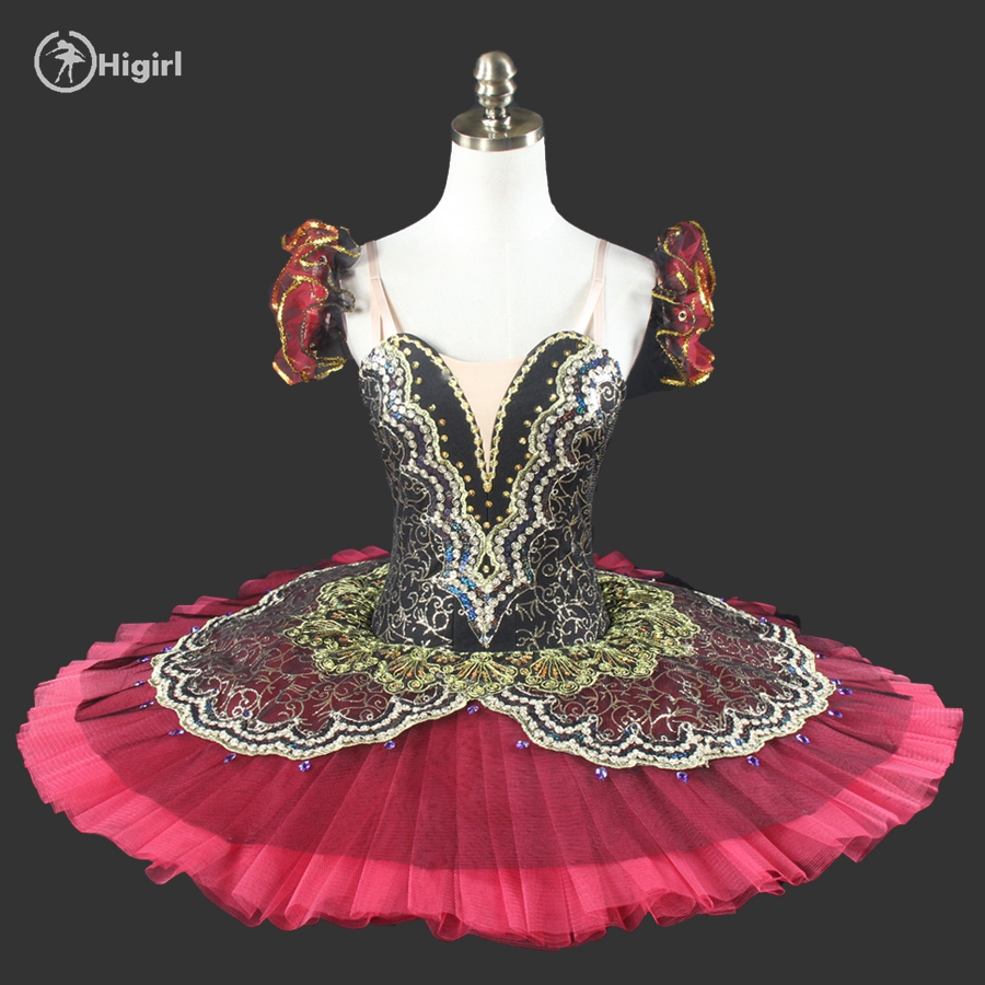 black red ballet tutu for girls professional tutu green gold pancake tutu nutcracker ballet tutuBT8941
