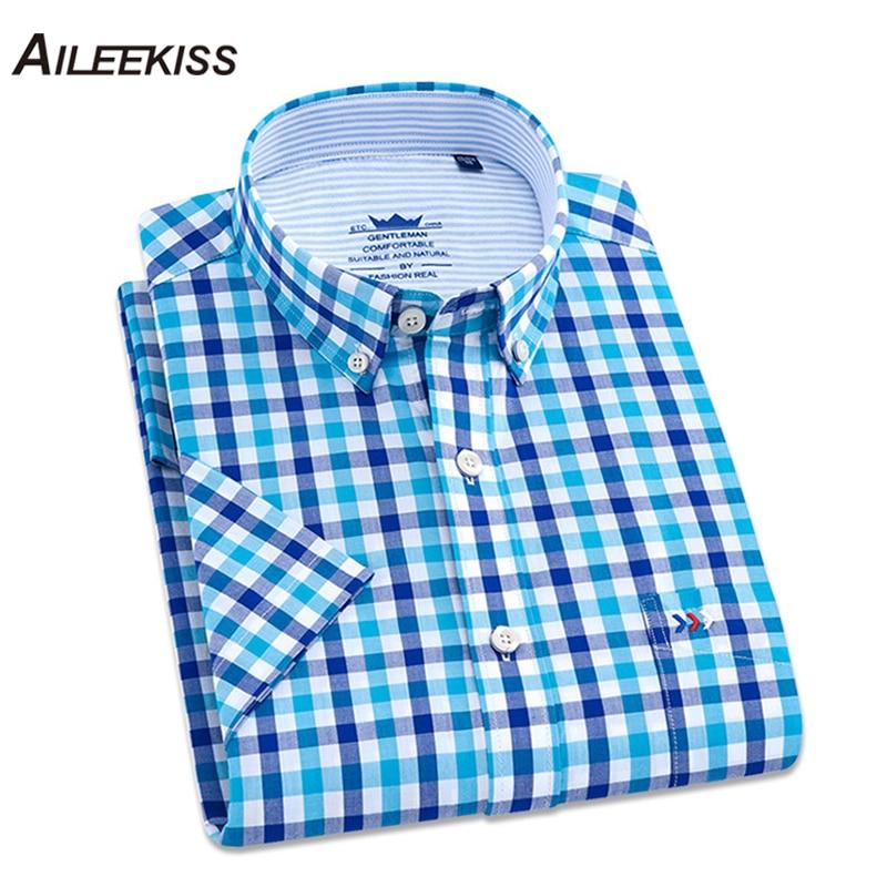 2019 Summer Brand New Shirt Arrived 100% Cotton Man Shirts Short Sleeve Casual Plaid Streetwear Chemise Homme Men Fashions XT645
