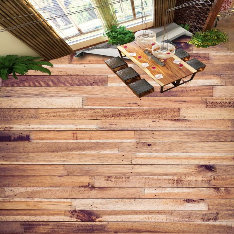 Free Shipping 3D HD wood floor living room floor custom stereo high-quality moisture-proof thickened bathroom mural wallpaper
