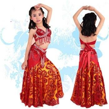 Children Stage Belly Dance Costume Professional 3pcs Bra Belt Skirt Arabic Kids Belly Dancing Wear