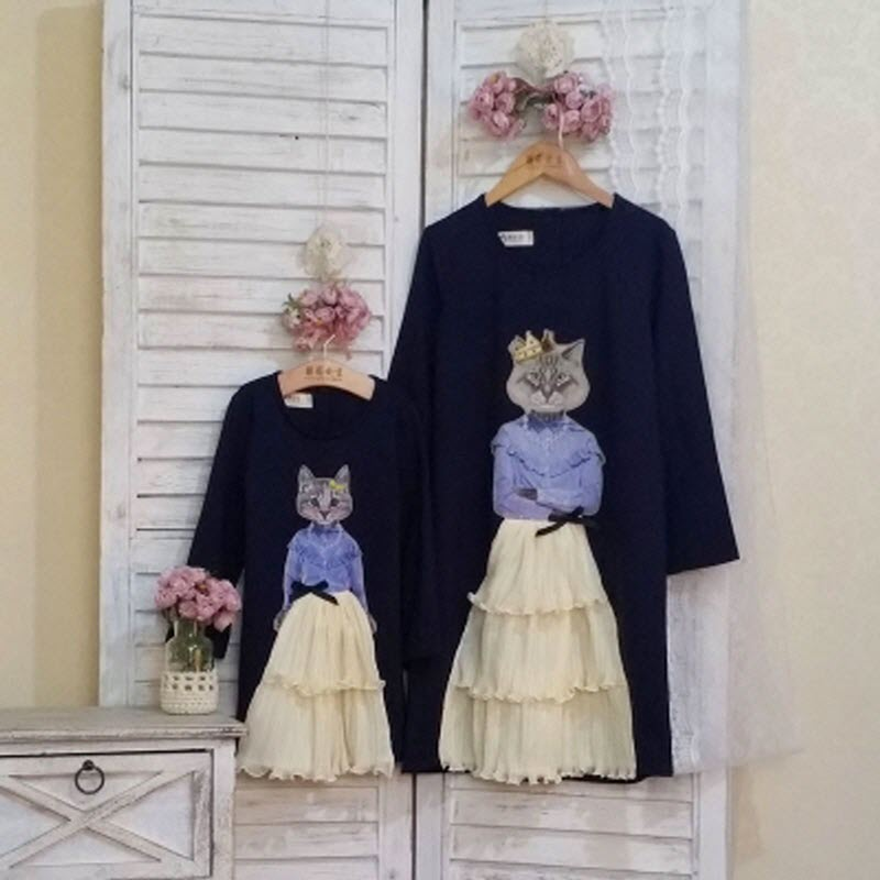 Children clothing Mother and Daughter Dress meow queen and princess,2-10 years old Child Girl Clothes, Women plus Large size 4XL children clothing mother and daughter dress black and white rabbit 2y 10y child baby baby girl infant lady women large size 4xl