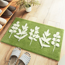 Double Flocking Leaves Natural Rug Water Absorption Bath Mats For Bathroom Rugs Non-Slip Entrance Doormat Outdoor Home Floor Mat недорого