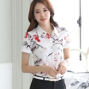 Image 2 - Fashion Print chiffon shirt women short sleeve formal slim chiffon blouses office ladies plus size tops