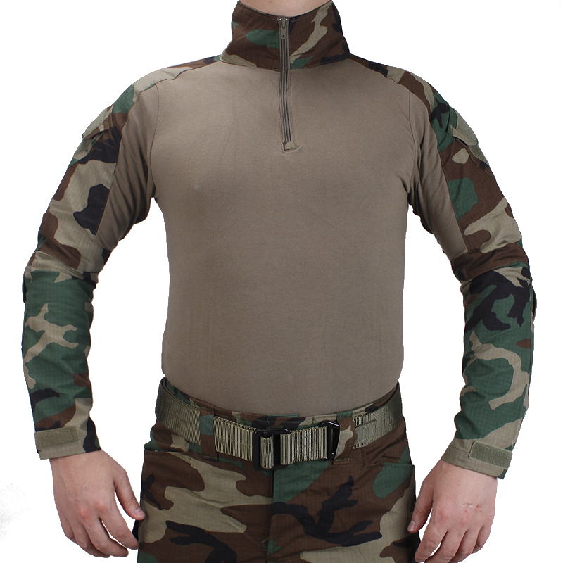 Tactical BDU Woodland Shirts Military Action Camouflage T-shirt Military Role Playing Game Ghillie Suits