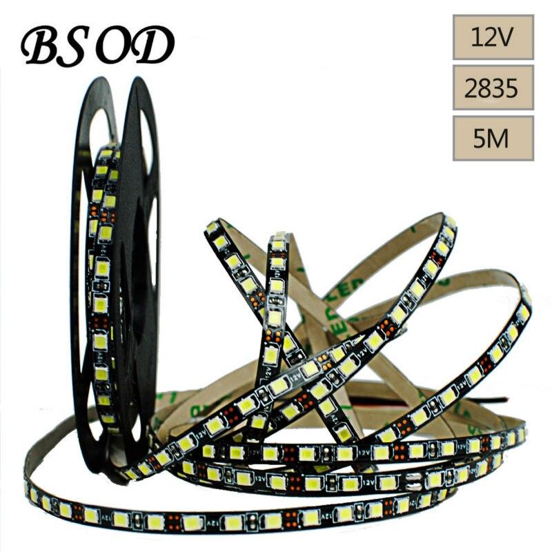 BSOD SMD 2835 LED Bande Noir PCB Conseil 120 led/mètre pas-étanche IP33 Flexible Chaîne pour la Partie vacances