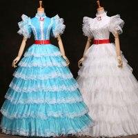 Customized 2018 Sweet White/Blue Short Sleeve fairy tale European court dress Medieval Renaissance masquerade Party dresses