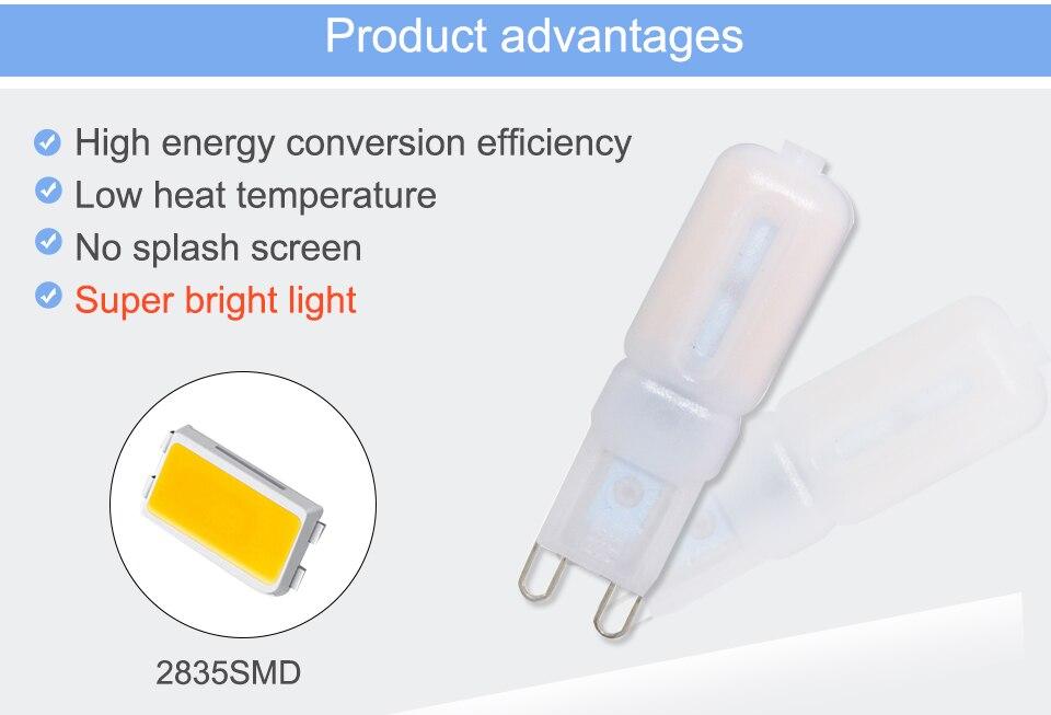 G9 LED Lamp 5W 7W 9W LED Light Bulb AC 220V 110V Chandelier (6)