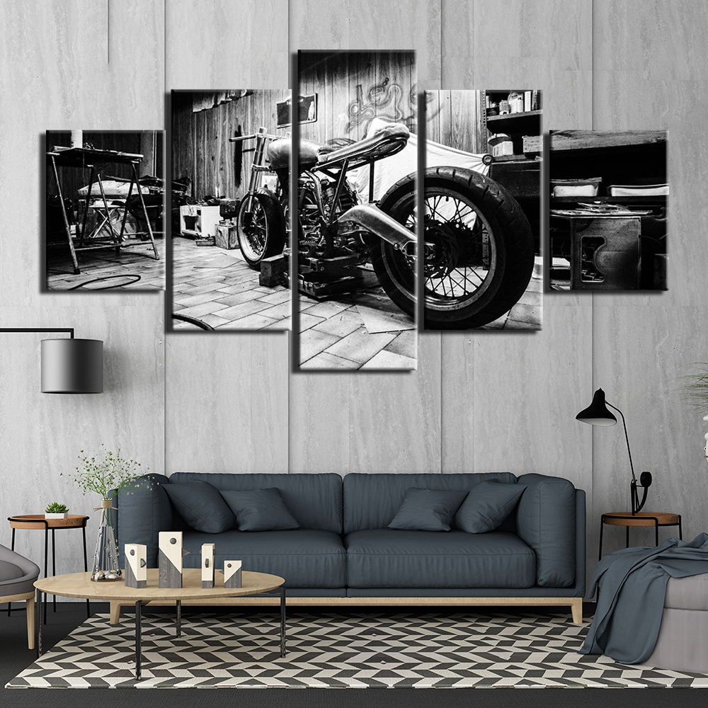 Modern Canvas Art Wall Pictures For Living Room 5 Pieces Modular Motorcycle Home Decoration