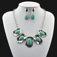 S271 Natural Oval Necklace Pendant & Earring, Jewlery Set,Women Gift,Vintage Look,Tibet Alloy
