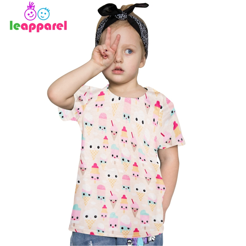 2018 Girls Cartoon Icecream Printed Tees Chidlren Short Sleeve Tops Kids Cute Blouse 3-12Y Girls Summer Clothing
