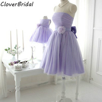 Free Customize Online Sale Tulle Strapless Short Fashion Family Lavender Mother Daughter Dresses For Wedding With