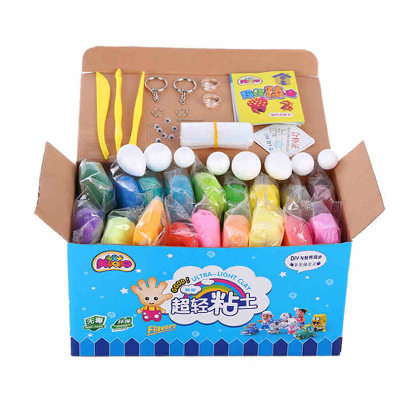 12//24//36 Colors Super Light Clay Set Soft Plasticine Plastilina Kids DIY Toy