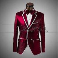 New Men's Fashion Formal Dress Suit Sets Wedding Dress men MC The Host Suit Red wine Jacket Plus Size (suit+pant) free shipping