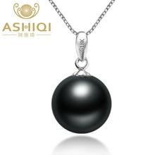 ASHIQI натуральное таитянское черное жемчужное ожерелье и кулон с G18k Золотая подвеска 10-11 мм жемчуг ювелирные изделия