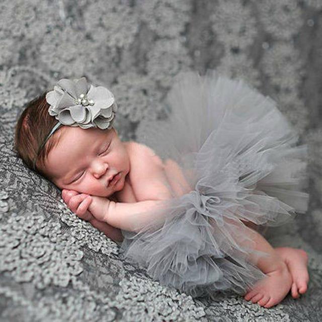 Newborn baby girls faldas del tutú + diadema de flores de fotos props disparar bebé regalo de la ducha fotografía fotografia equipan el envío libre