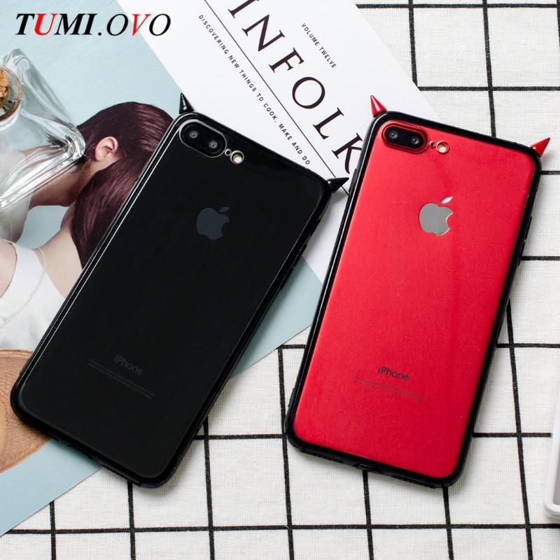 TUMI. OVO 3D mignon diable corne étui souple en ptu Transparent en plastique Transparent noir housse pour iPhone 7 6 6S Plus étui de sac de téléphone portable