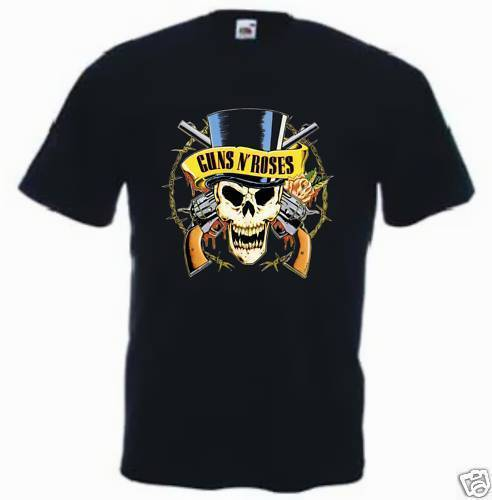 Men T SHIRT MAGLIA MAGLIETTA GUNS AND N ROSES HARD ROCK METAL MUSICA NERA