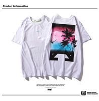 Fashion T shirt men's street fashion summer street hip hop sunset coconut doodle men's and women's short sleeved couple T shirt
