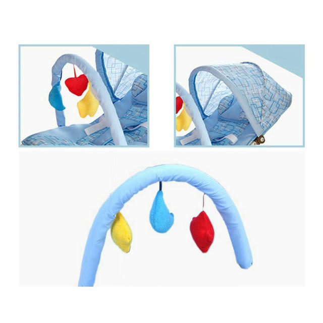 Portable Baby Rocking Chair, can sit can lie Multifunctional Baby Cradle, steel pipe Baby Chair with mosquito net 4