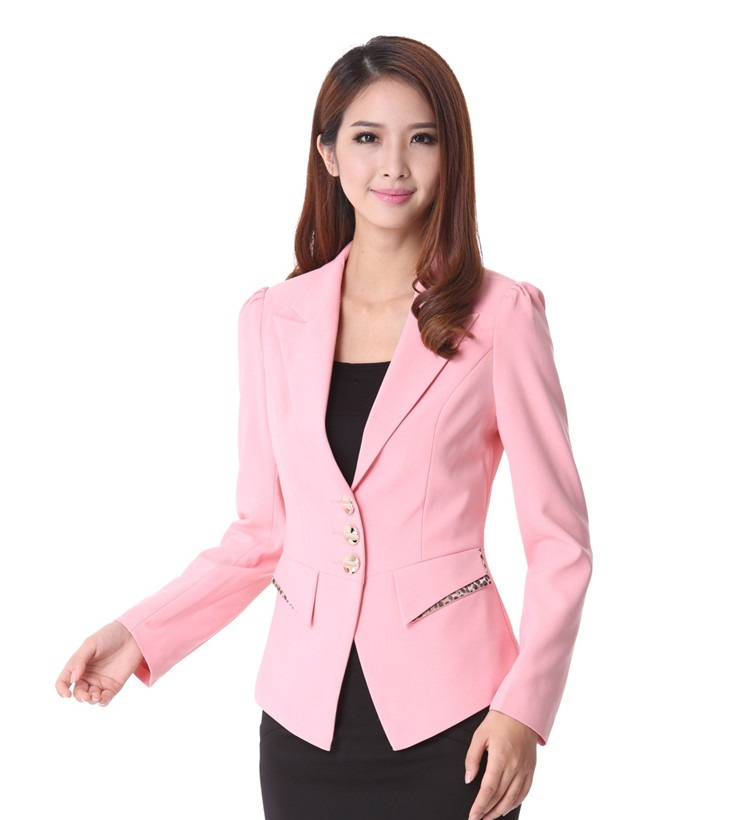 New 2015 Spring Autumn Formal Female Pink Blazer Women Winter Work ...