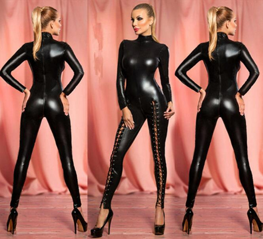 2018 Hot Sexy Black Catwomen Jumpsuit PVC Spandex Latex Catsuit Costumes for Women Bodysuits Leather Playsuits